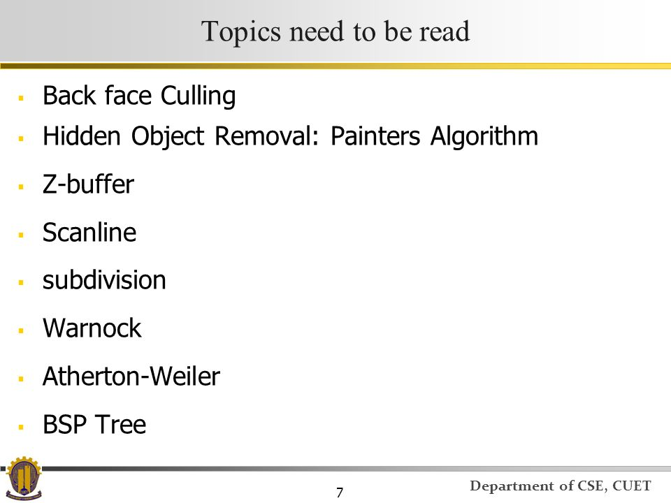 Topics need to be read Back face Culling