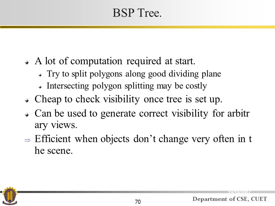 BSP Tree. A lot of computation required at start.