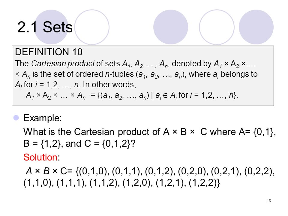 2.1 Sets DEFINITION 10 Example: