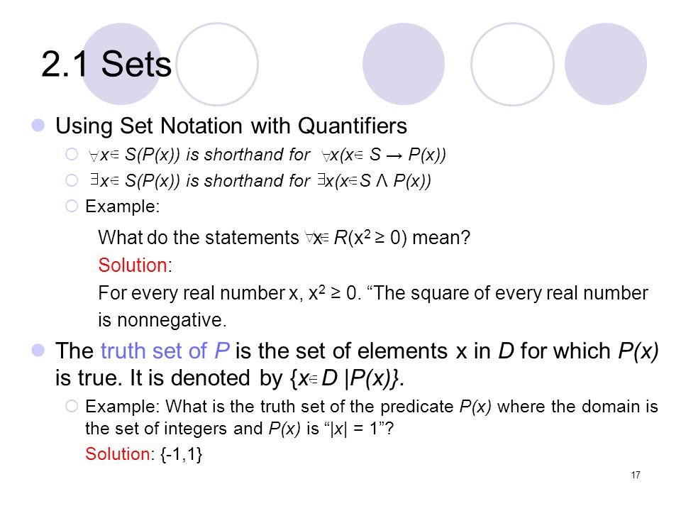 2.1 Sets Using Set Notation with Quantifiers
