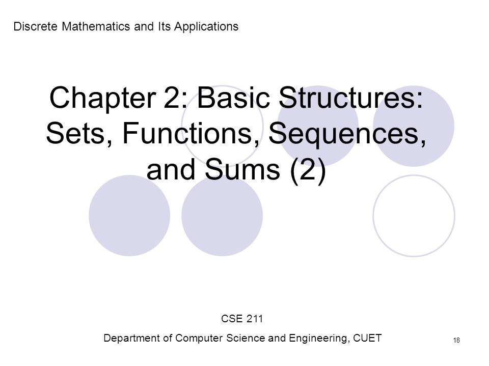 Chapter 2: Basic Structures: Sets, Functions, Sequences, and Sums (2)