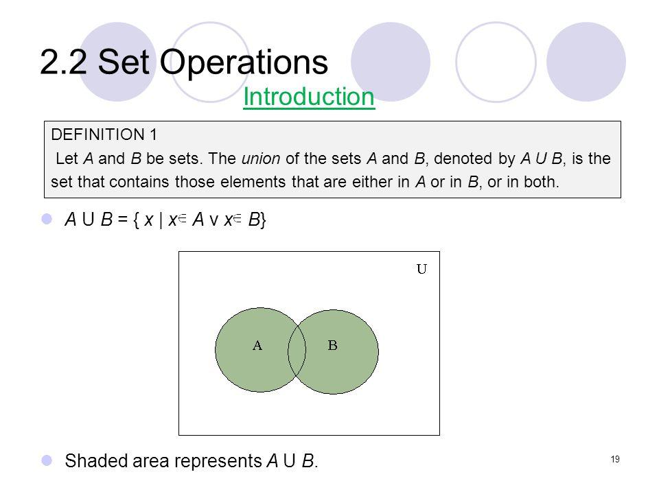 2.2 Set Operations Introduction A U B = { x | x A v x B}