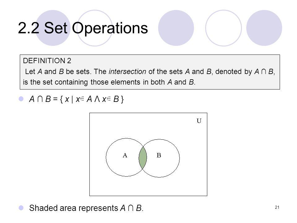 2.2 Set Operations A ∩ B = { x | x A Λ x B }