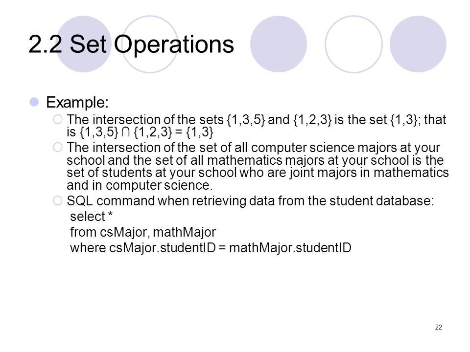 2.2 Set Operations Example:
