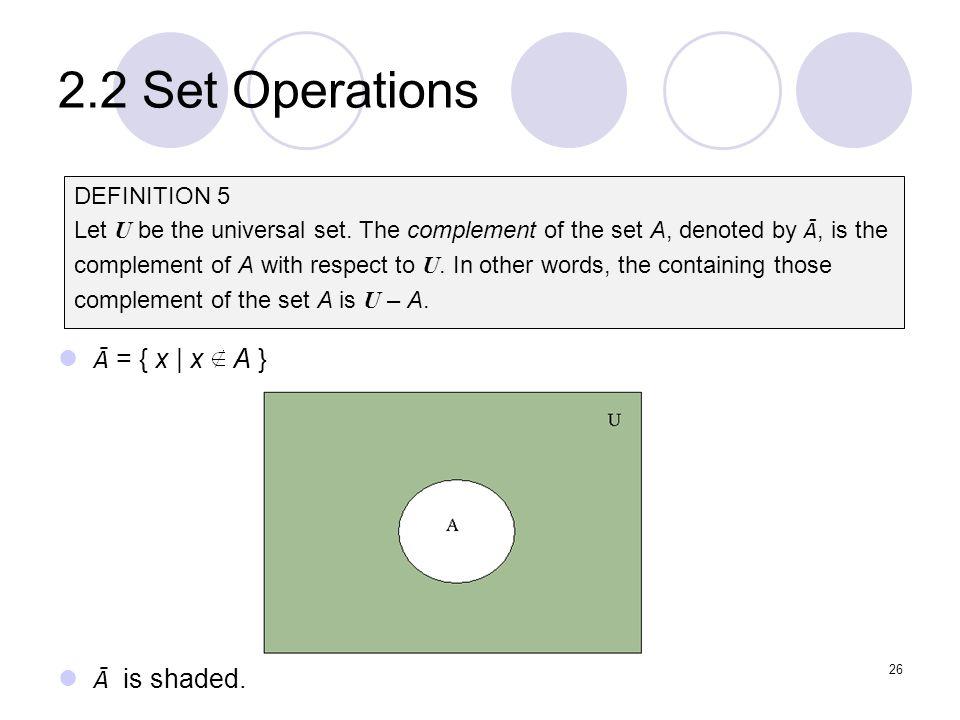 2.2 Set Operations Ā = { x | x A } Ā is shaded. DEFINITION 5