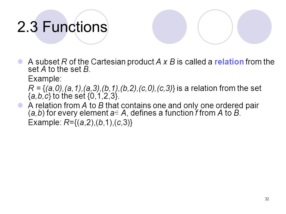 2.3 Functions A subset R of the Cartesian product A x B is called a relation from the set A to the set B.