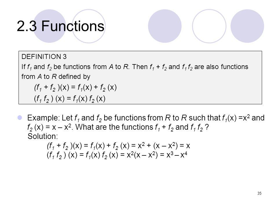 2.3 Functions (f1 + f2 )(x) = f1(x) + f2 (x)