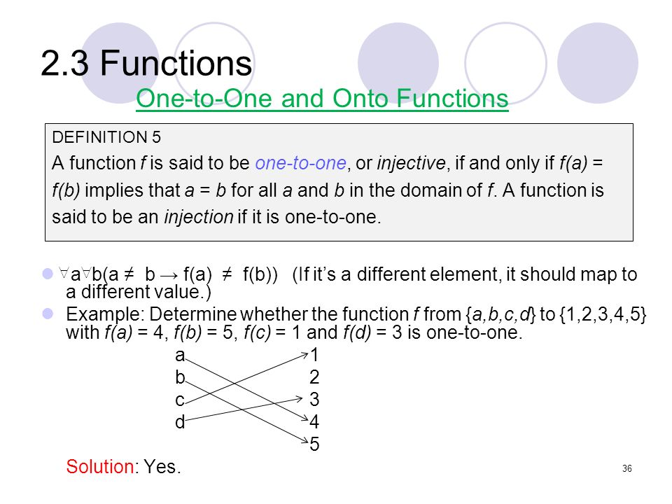 2.3 Functions One-to-One and Onto Functions