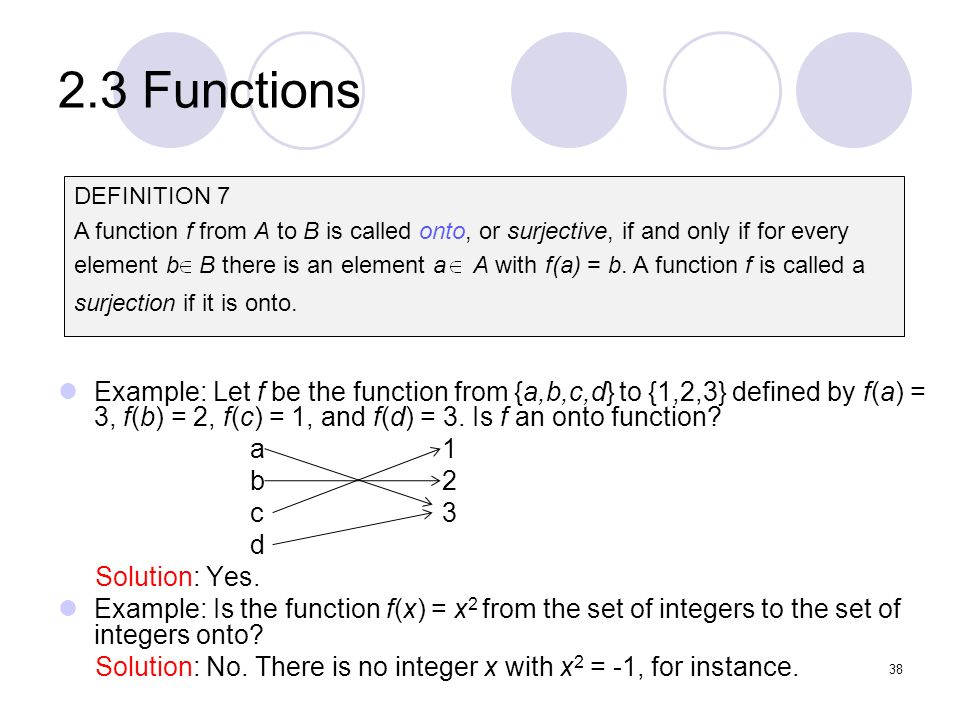 2.3 Functions DEFINITION 7. A function f from A to B is called onto, or surjective, if and only if for every.
