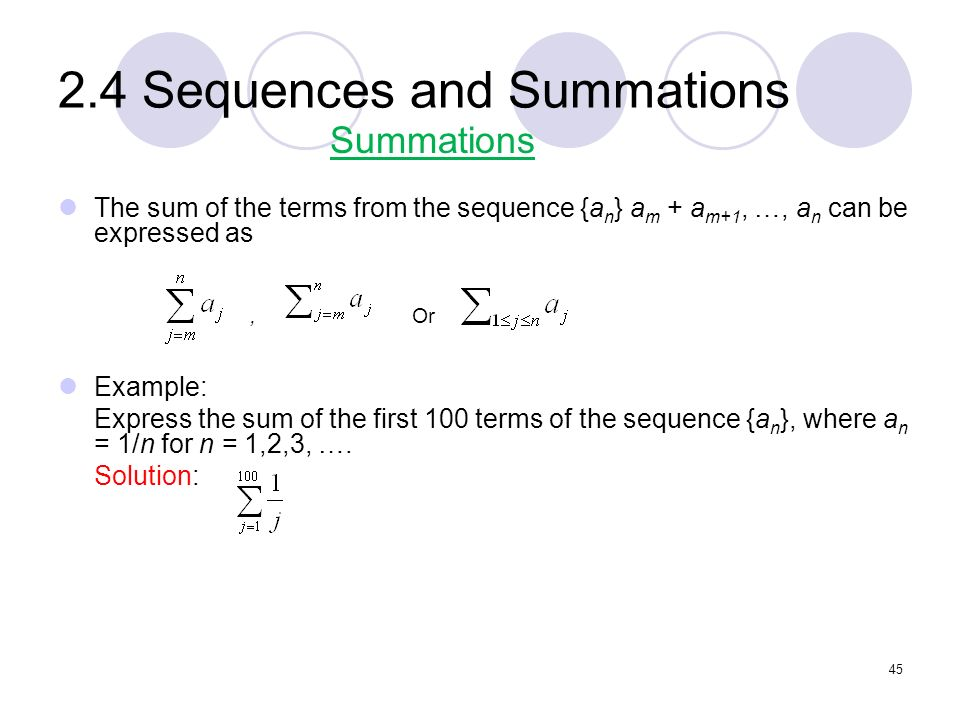 2.4 Sequences and Summations