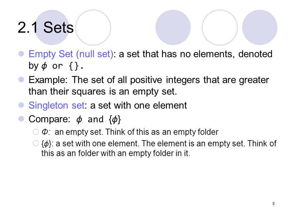 2.1 Sets Empty Set (null set): a set that has no elements, denoted by ф or {}.