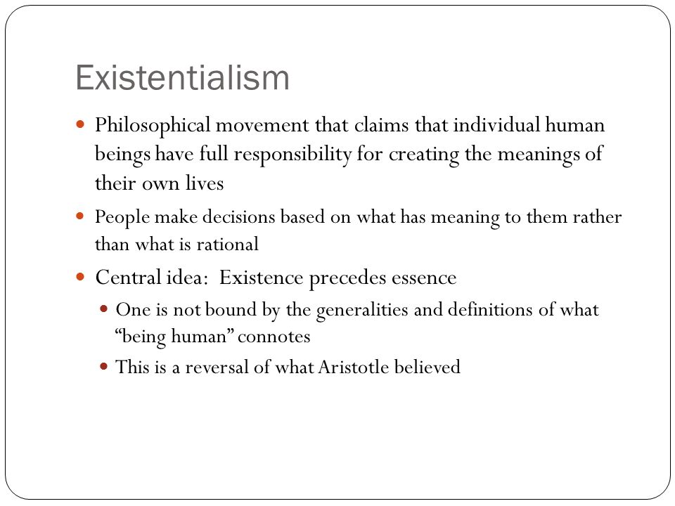 "an analysis of existentialism and theater It is a very specific meaning of ""existence"" that the existentialists use, which refers  to human  with nausea, the drama unfolds as a philosophical drama."