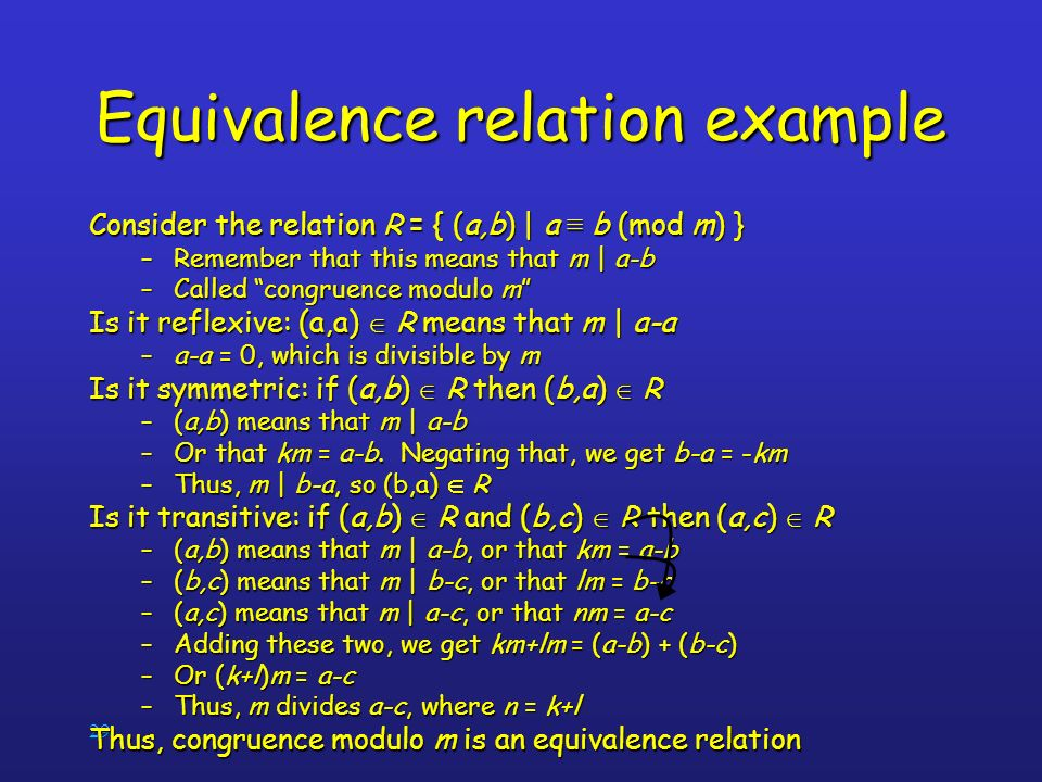 Equivalence relation example