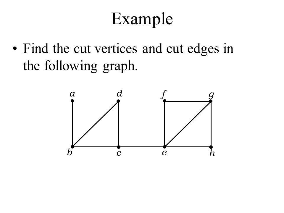 Example Find the cut vertices and cut edges in the following graph. a