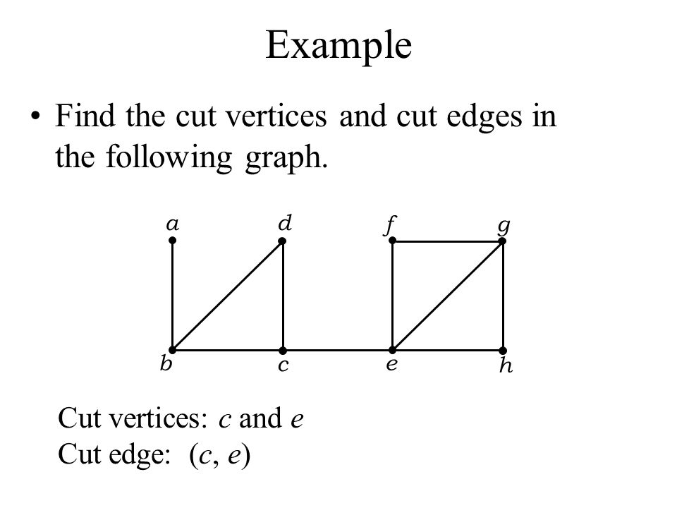 Example Find the cut vertices and cut edges in the following graph.