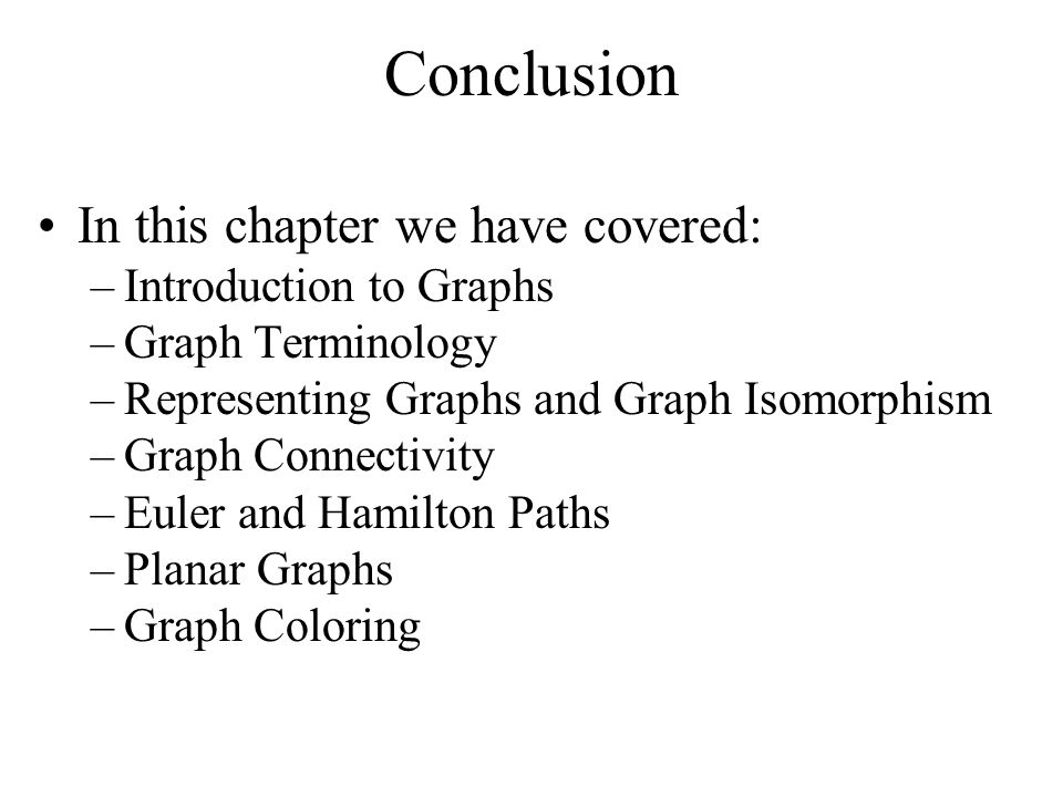 Conclusion In this chapter we have covered: Introduction to Graphs