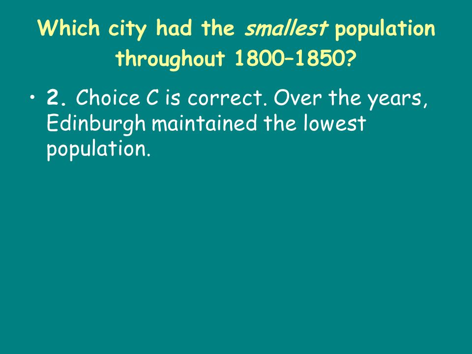 Which city had the smallest population throughout 1800–1850
