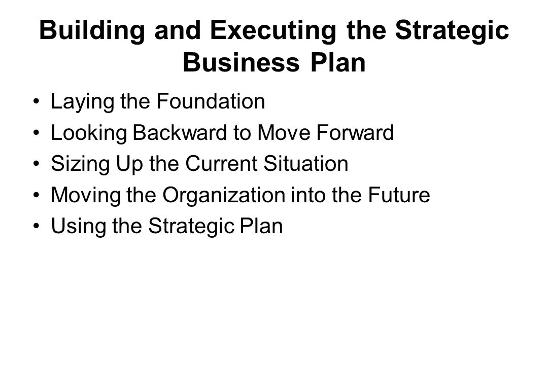 Building and Executing the Strategic Business Plan