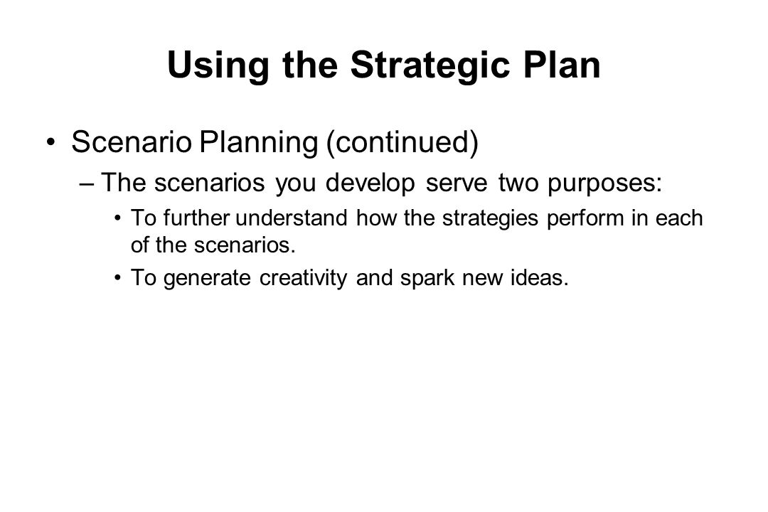 Using the Strategic Plan