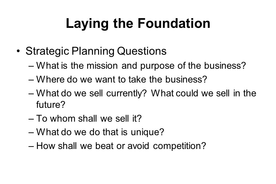 Laying the Foundation Strategic Planning Questions