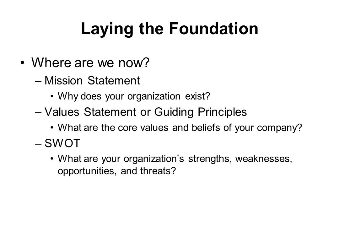 Laying the Foundation Where are we now Mission Statement