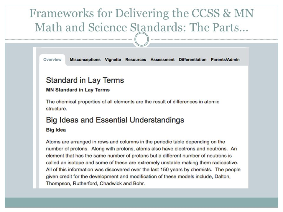Frameworks for Delivering the CCSS & MN Math and Science Standards: The Parts…