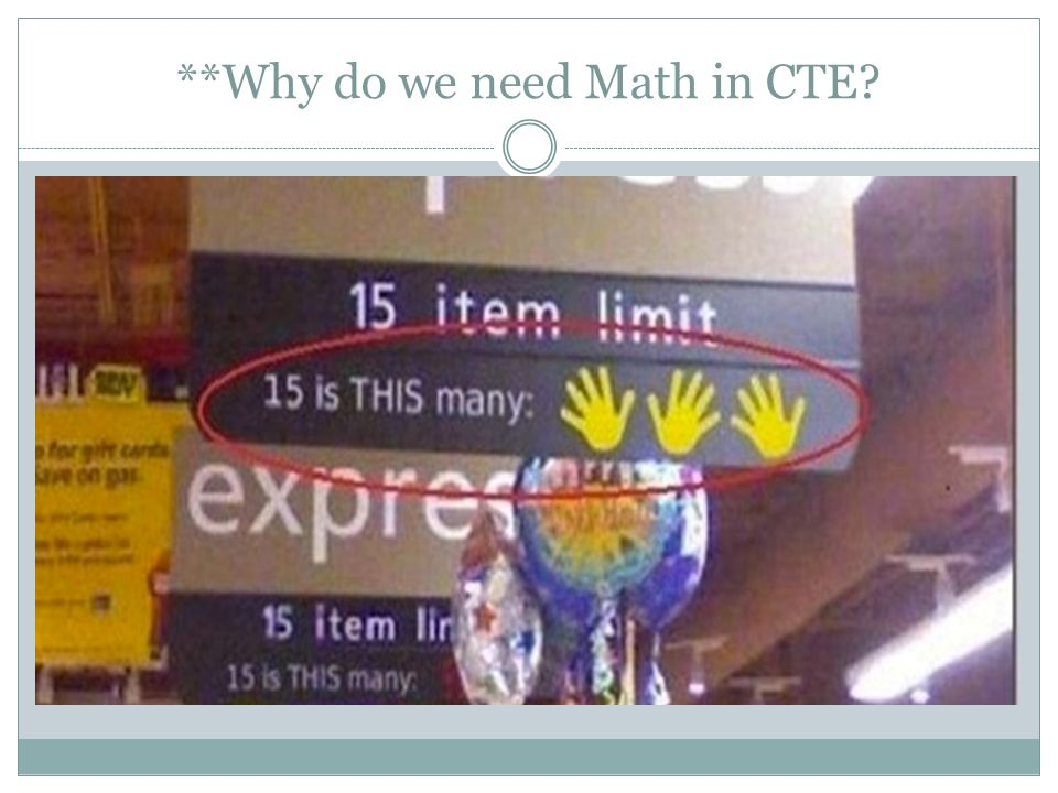**Why do we need Math in CTE
