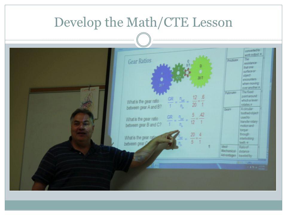 Develop the Math/CTE Lesson