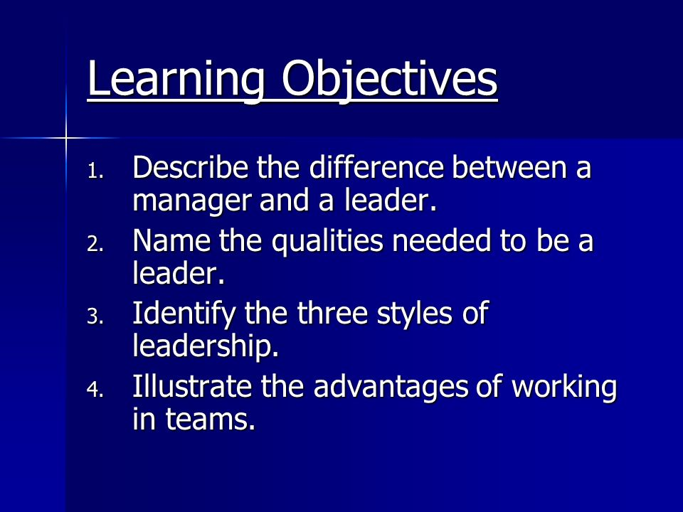 Learning Objectives Describe the difference between a manager and a leader. Name the qualities needed to be a leader.