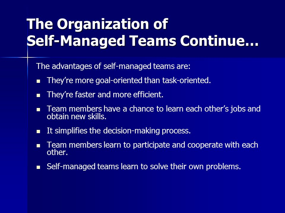 The Organization of Self-Managed Teams Continue…