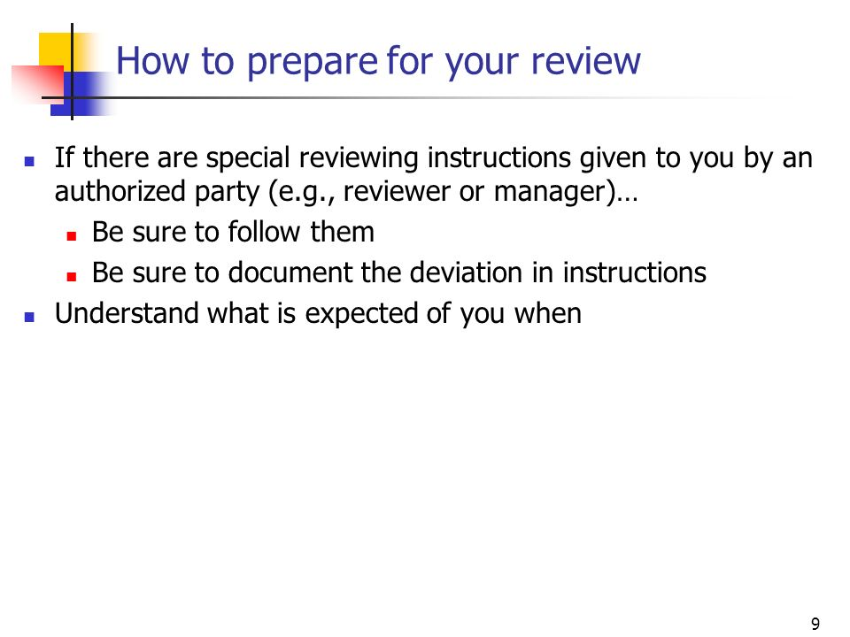 How to prepare for your review