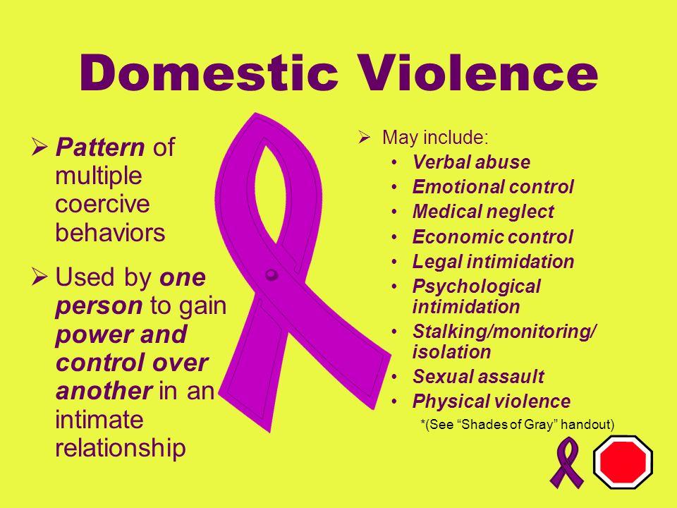 Domestic Violence Pattern of multiple coercive behaviors