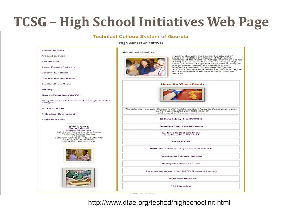 TCSG – High School Initiatives Web Page