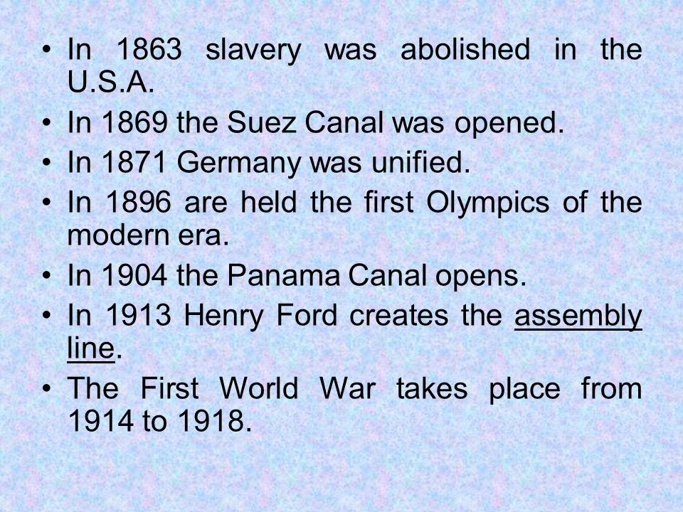 In 1863 slavery was abolished in the U.S.A.