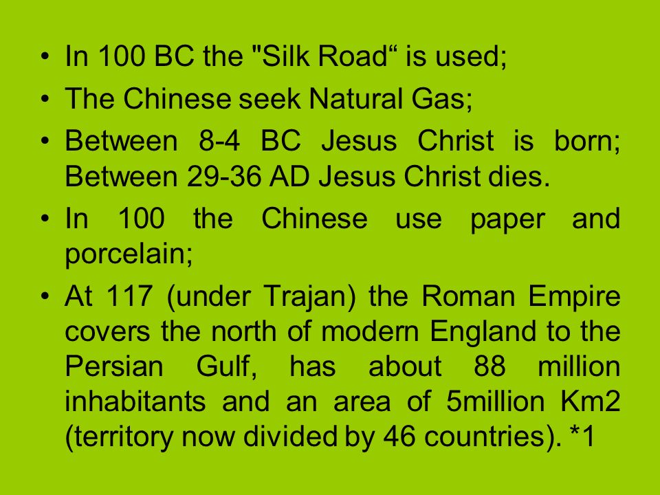 In 100 BC the Silk Road is used;