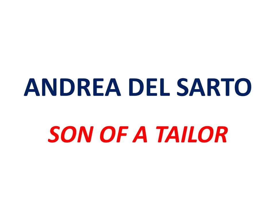 ANDREA DEL SARTO SON OF A TAILOR