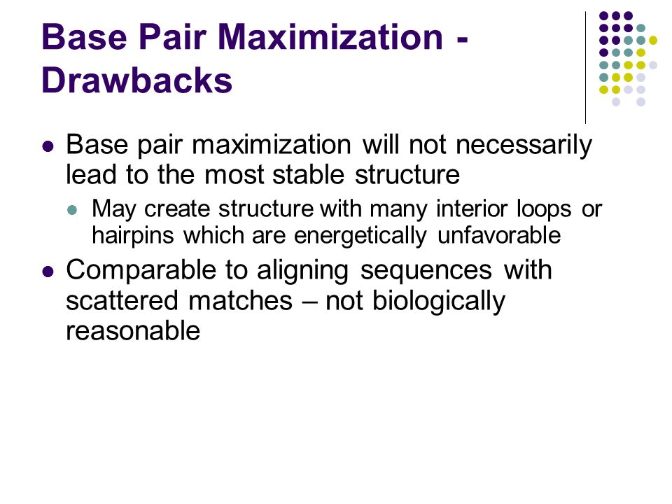 Base Pair Maximization - Drawbacks