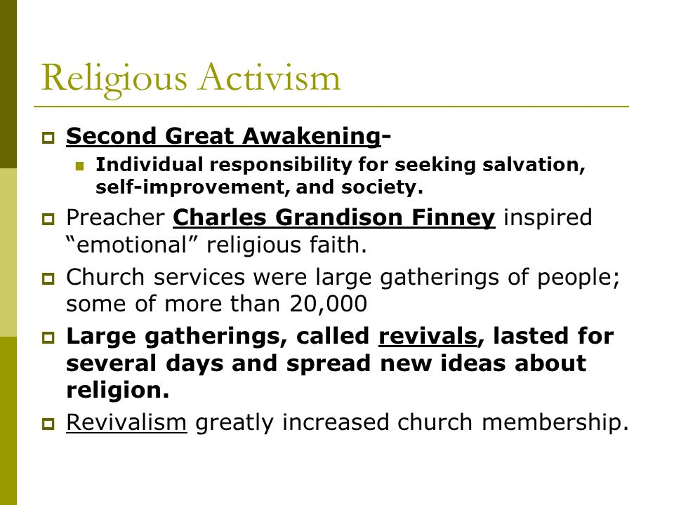 Religious Activism Second Great Awakening-