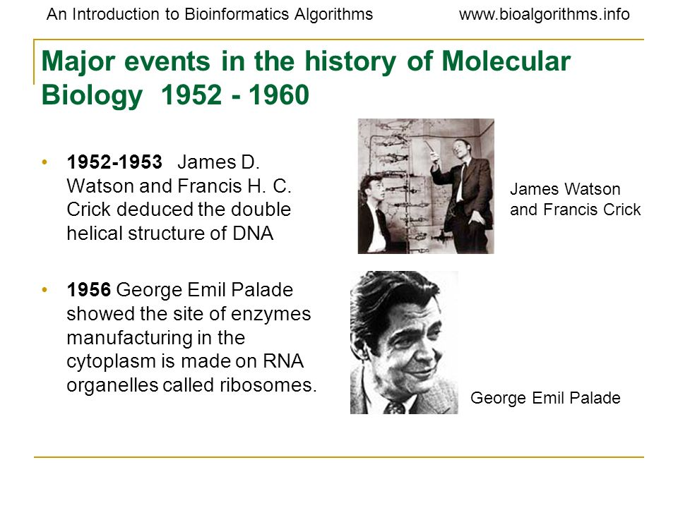 Major events in the history of Molecular Biology 1952 - 1960