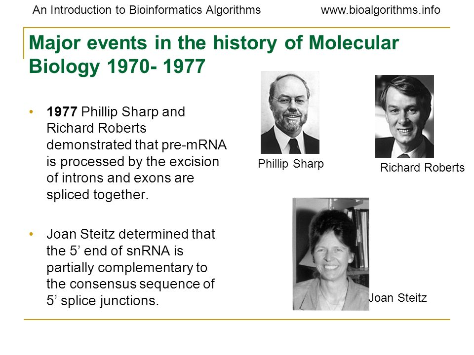 Major events in the history of Molecular Biology 1970- 1977