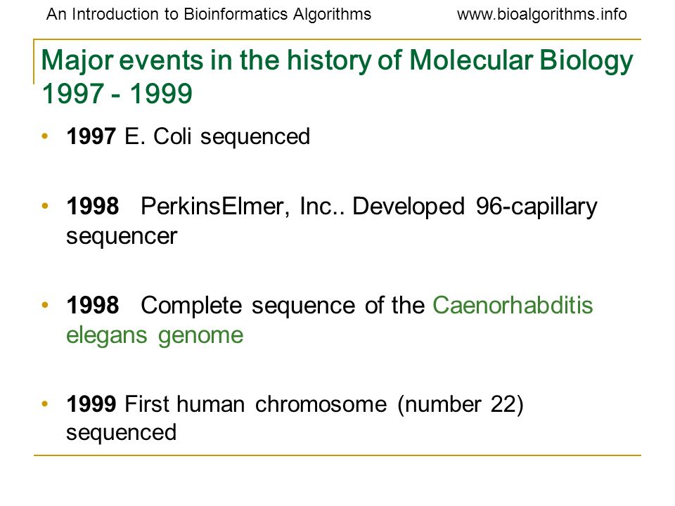 Major events in the history of Molecular Biology 1997 - 1999