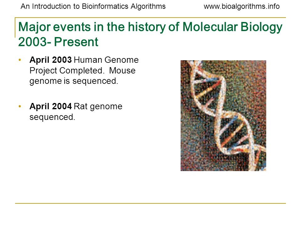 Major events in the history of Molecular Biology Present