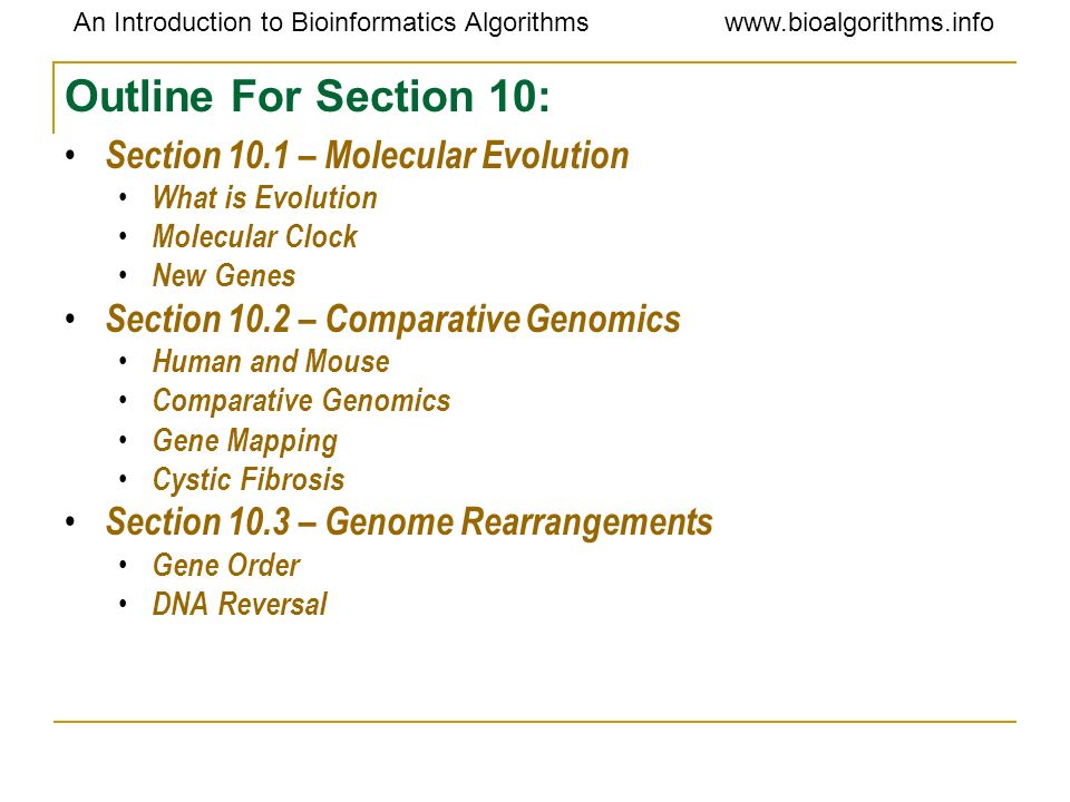 Outline For Section 10: Section 10.1 – Molecular Evolution