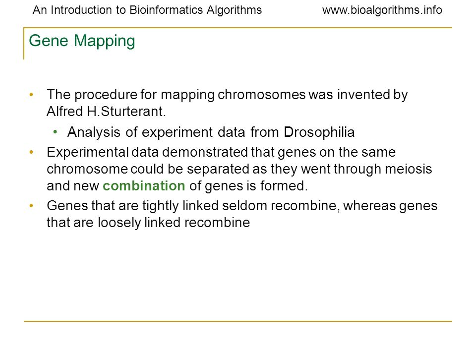 Gene Mapping Analysis of experiment data from Drosophilia