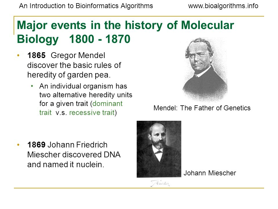 Major events in the history of Molecular Biology 1800 - 1870