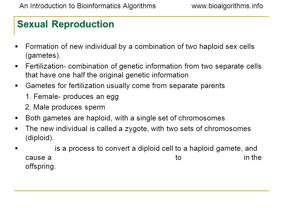 Sexual Reproduction Formation of new individual by a combination of two haploid sex cells (gametes).