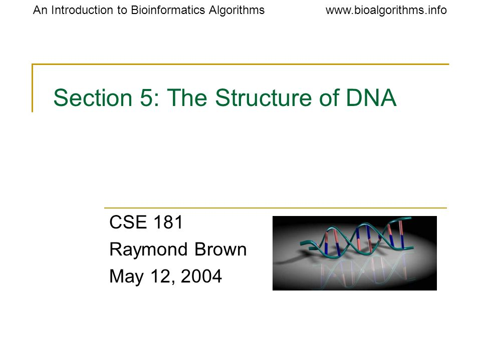 Section 5: The Structure of DNA