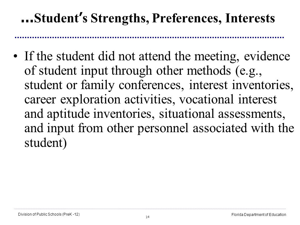 …Student's Strengths, Preferences, Interests