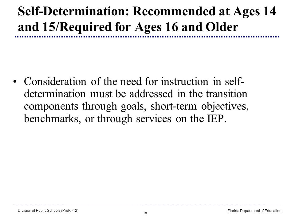 Self-Determination: Recommended at Ages 14 and 15/Required for Ages 16 and Older