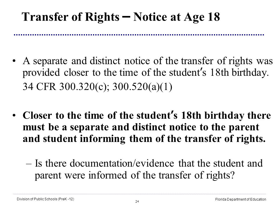 Transfer of Rights – Notice at Age 18